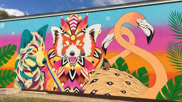 """Fresque """"Symbiose animale"""", SPE Les hautes feuiles de Croix Rouge. Reims."""