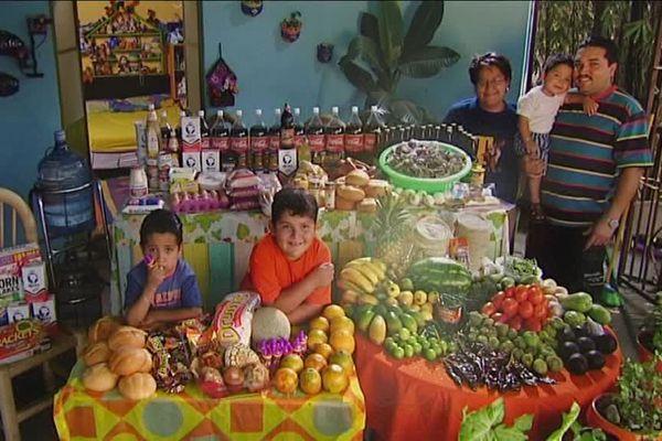 Une famille mexicaine devant une semaine de nourriture