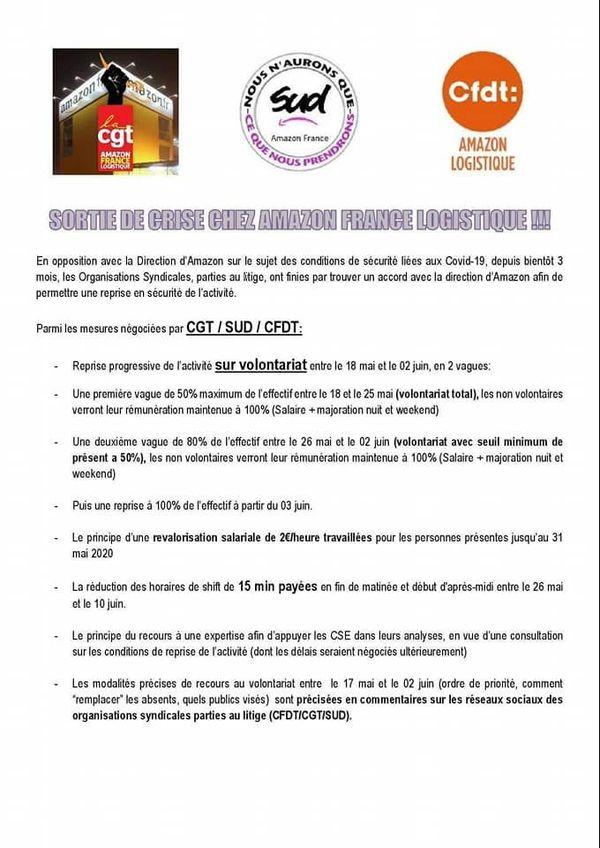 Communiqué des syndicats d'Amazon du 15 mai 2020