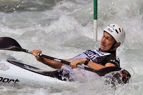 Boris Neveu lors de la coupe du monde de slalom de 2011