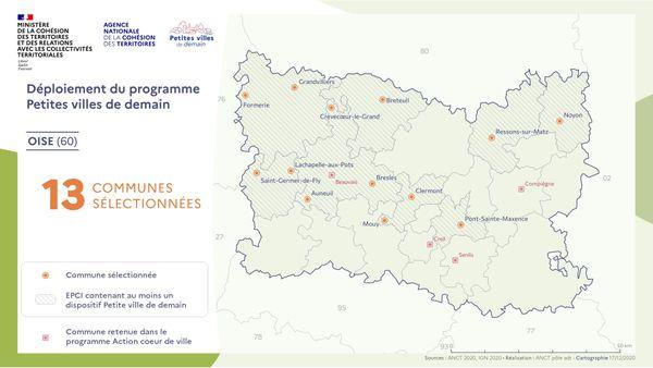 """Les communes de l'Oise retenues dans le cadre du programme """"Petites villes de demain"""""""