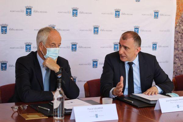 Le préfet Pascal Lelarge et Jean-Christophe Angelini à Porto-Vecchio mardi 30 mars 2021