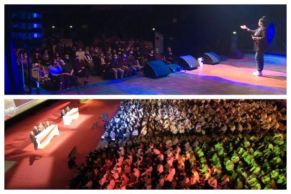 La salle de concert le Bikini (en haut) et le centre des congrès Diagora (en bas) sont les deux lieux choisis pour les expérimentations de la circulation de l'air réalisées en ce moment à Toulouse