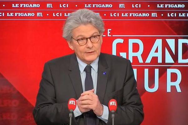 Le commissaire européen Thierry Breton dans Le Grand Jury, ce 28 mars.
