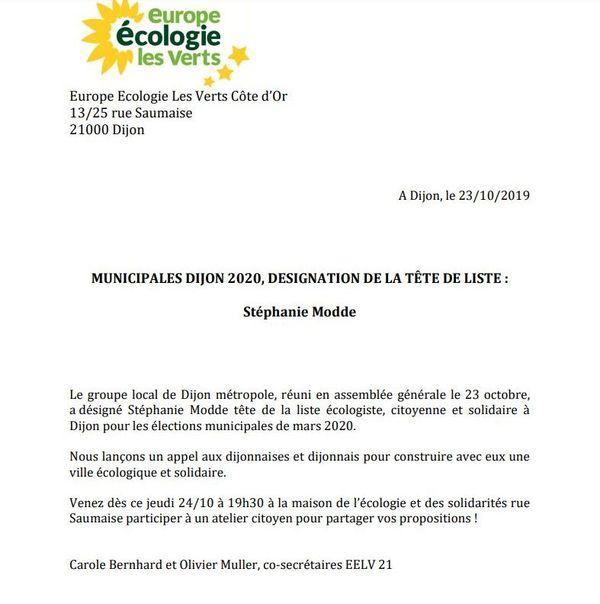 Le communiqué du parti EELV en Côte d'Or