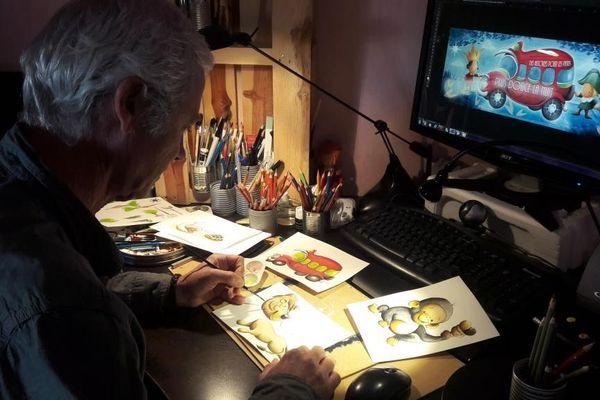 """Jean-Marc Filipi, illustrateur en pleine création, co-auteur de """"Plus douce la nuit"""", chaîne YouTube pour les tous petits."""