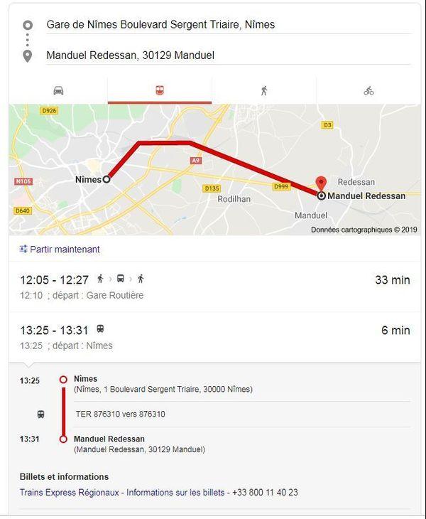 Il est possible de prendre un TER ou un bus pour se rendre à la gare de Manduel, située à 10 kilomètres de Nîmes - décembre 2019