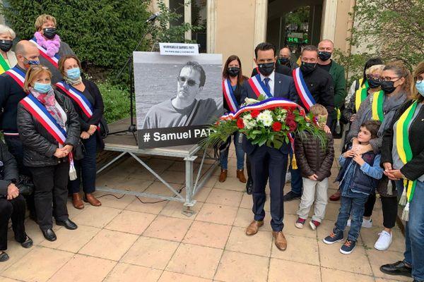 Lors de la cérémonie en hommage à Samuel Paty, ce mercredi 21 octobre 2020, à Plan-de-Cuques.