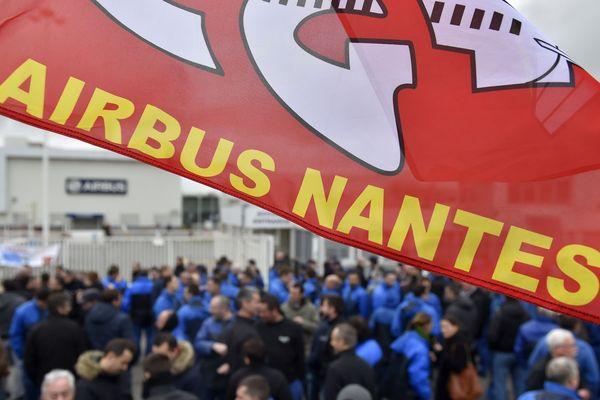 Le site Airbus de Bouguenais (Loire-Atlantique) le 22 février 2016 lors d'une manifestation contre le pointage en bleu de travail (photo d'illustration).