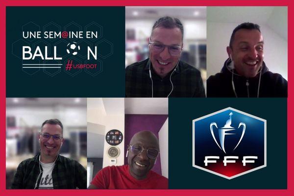 Julien Sourice, entraîneur de Saumur (en haut à droite) et Papy Leye, l'entraîneur des Voltigeurs de Châteaubriant invités d'Anthony Brulez dans Une Semaine en Ballon