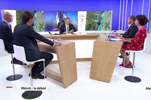 Le débat sur le plateau de France 3 Alsace opposant les quatre candidats encore en lice pour le second tour des municipales à Illkirch-Graffenstaden