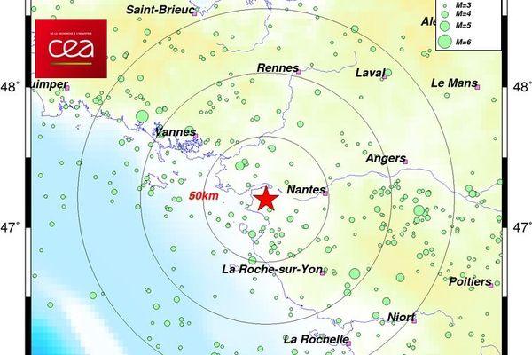 Les séisme a été ressenti au sud-est de Saint-Père-en-Retz