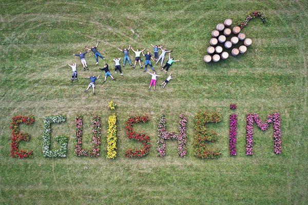 La composition florale du syndicat des vignerons d'Eguisheim sera visible depuis l'hélicoptère du Tour de France.