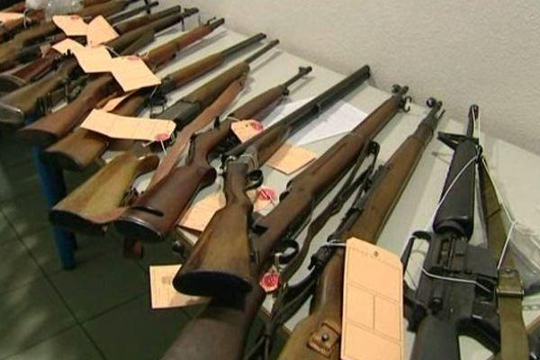Vauvert (Gard) - les gendarmes ont saisi une trentaine d'armes, fusils, revolvers et pistolets et près de 400 munitions - 15 janvier 2014.