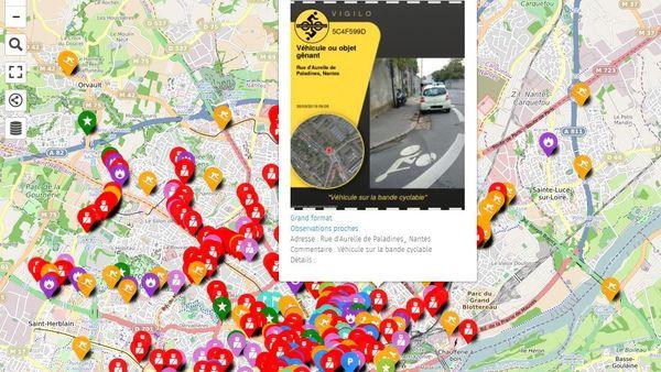 Carte de signalement Vigilo créée par les cyclistes à Nantes