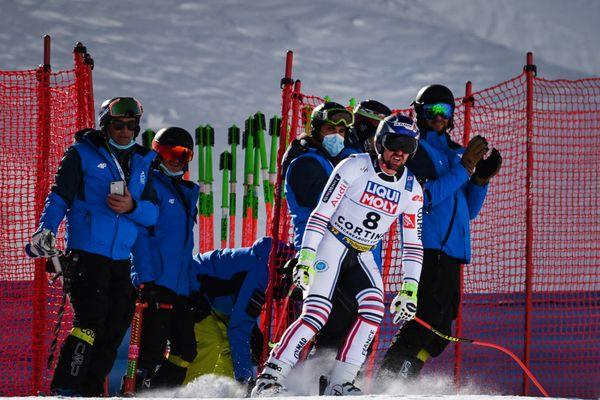 Maxence Muzaton après sa chute lors des mondiaux de Cortina d'Ampezzo dimanche 14 février 2021.