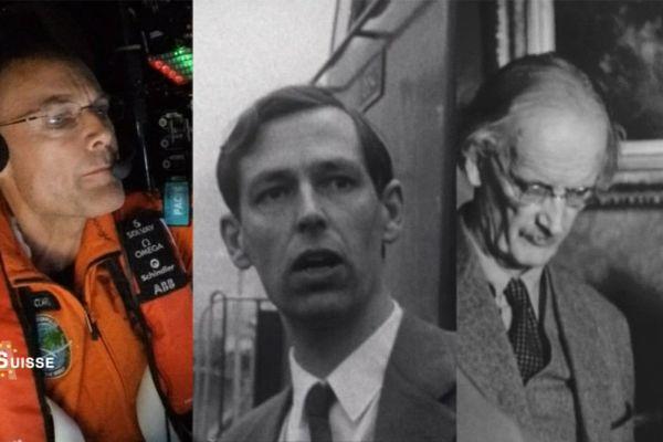 La famille Piccard : Bertrand, Jacques et Auguste Piccard qui inspira Hergé pour le personnage du professeur Tournesol.