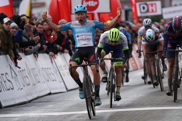 Hugo Hofstetter à l'arrivée du Grand Prix Samyn de Belgique, le 3 mars 2020.