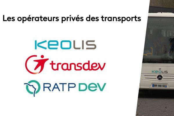 Keolis est une filiale de la SNCF, Transdev de la Caisse des dépôts et consignations et RATP Dev de la RATP.