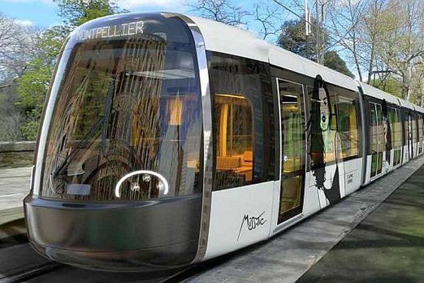 """Montpellier - simulation de la future ligne 5 de tramway sur le thème """"street art"""" - 18 octobre 2013."""