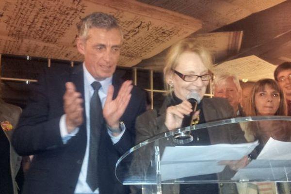 Hélène Mandroux et Philippe Saurel dimanche soir à la mairie de Montpellier.