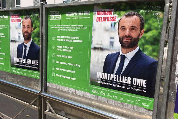 Montpellier - les affiches de campagne du candidat devenu maire PS, Michaël Delafosse - juin 2020.