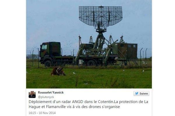 C'est un responsable de Greenpeace qui a tweeté en premier une photographie d'un radar déployé à proximité des sites de la Hague et Flamanville.