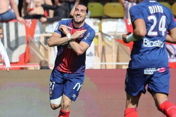 La joie d'Enzo Crivelli, auteur du but de la victoire pour Caen face à Monaco