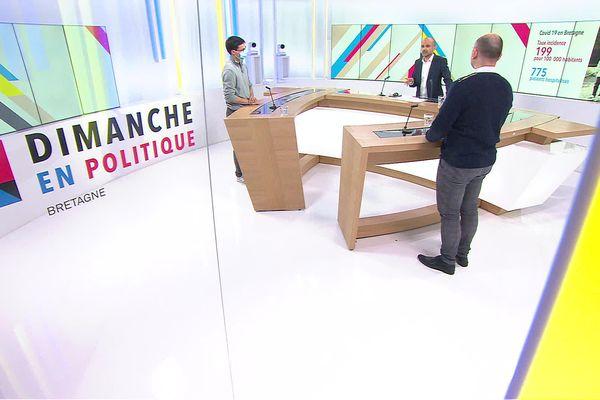 """Matthieu Revest, infectiologue au CHU Rennes, et Pascal Crépey, épidémiologiste à l'EHESP, sont les invités de ce """"Dimanche en Politique"""", spécial 3ème confinement."""