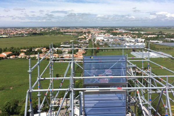 La vue du chantier sur le pont transbordeur à 70 mètres de hauteur.