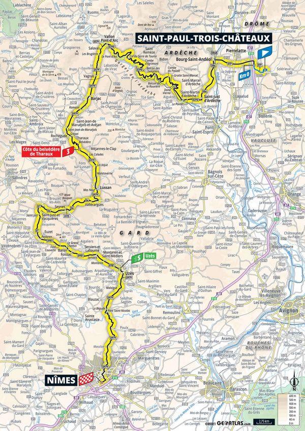 Le tracé de la 12ème étape du Tour de France entre Saint-Paul-Trois-Châteaux et Nîmes - 7 juillet 2021