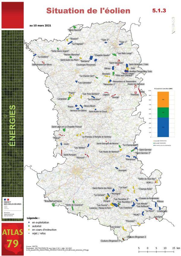 Carte de situation de l'éolien en Deux-Sèvres