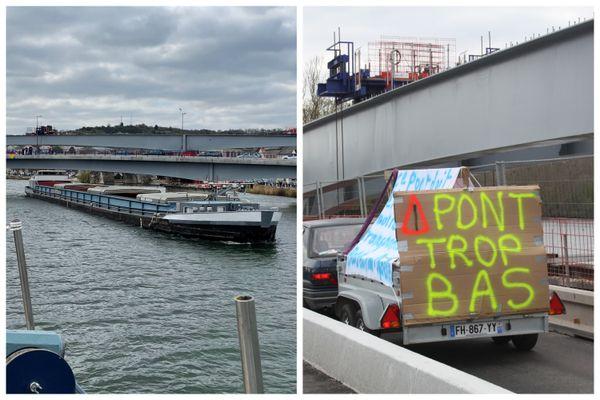 Les bateliers jugent que le nouveau pont installé à Pont-sur-Yonne est trop bas. (images de l'action menée début avril)