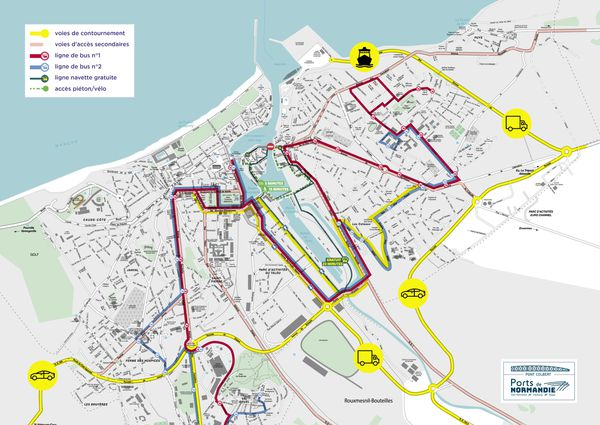 Dieppe- Plan de circulation  pendant la fermeture du pont Colbert du 28 juin au 18 juillet 2031