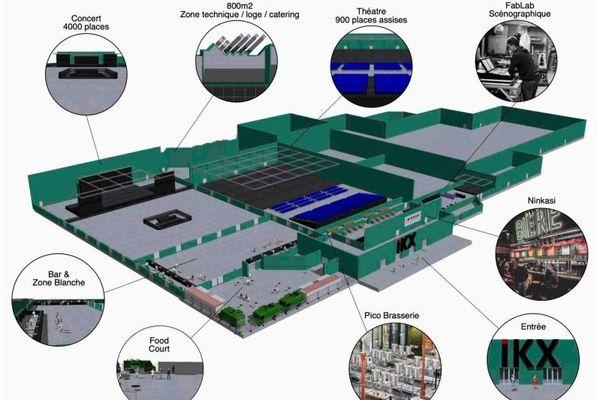 Le plan provisoire du projet IKX regroupe plusieurs scènes, une brasserie et un laboratoire de technologies