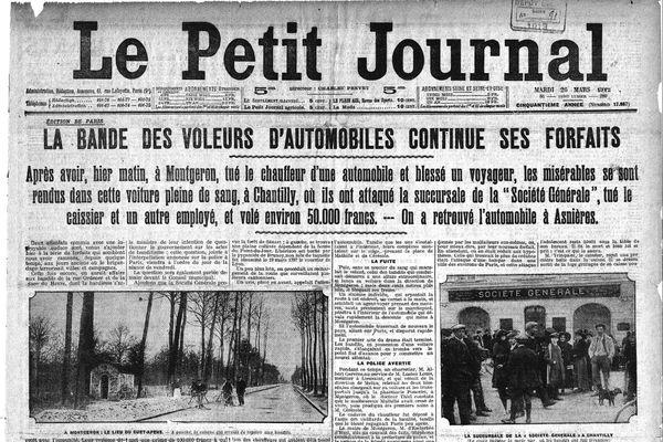 Une du Petit Journal, le mardi 26 mars 1912, lendemain de l'attaque de la Société Générale de Chantilly.