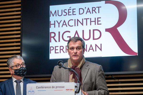 Louis Aliot a annoncé la réouverture des quatre musées de la ville de Perpignan lors d'une conférence de presse - 8 février 2021.