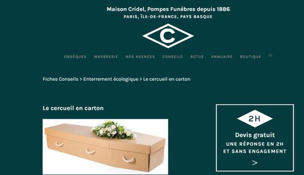 Certaines pompes funèbres proposent des cercueils en carton.
