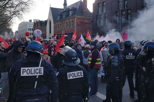 Le départ de la manifestation lilloise ce mercredi contre la réforme des retraites.