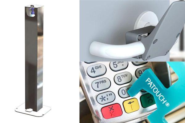 Une borne qui distribue du gel hydroalcoolique, un ouvre porte main libre et un petit rectangle polyvalent qui permet de ne rien toucher.