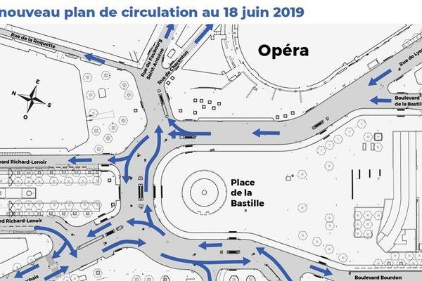 Nouveau plan de déplacement place de la Bastille