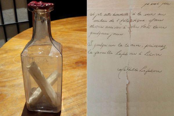 La bouteille lancée du Titanic, retrouvée au Canada contenant la lettre de la jeune Mathilde Lefebvre.