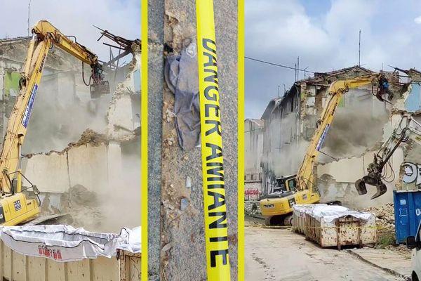 Travaux de désamiantage et démolition d'immeubles à proximité de l'école Félix Pyat à Marseille