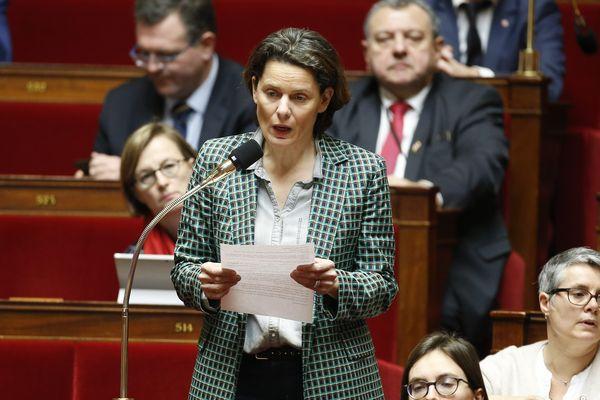 Fabienne Colboc député d'Indre et Loire lors des questions au gouvernement dans l'hémicycle de l'Assemblée Nationale. Paris, 14 fevrier 2018