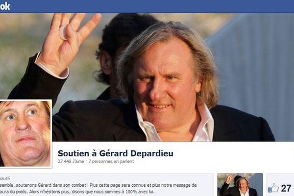 Capture d'écran de la page Facebook de soutien à Gérard Depardieu.