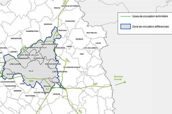 La carte des communes concernées par la circulation différentiée.