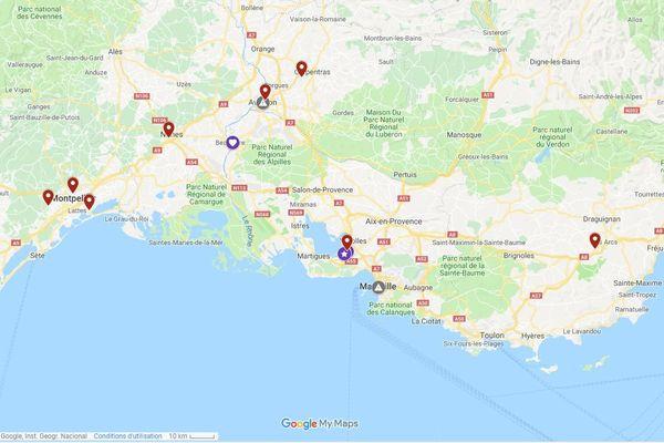 """Carte des féminicides dans le sud-est de la France au 6 août 2019 selon l'association """"Féminicides par compagnons ou ex""""."""