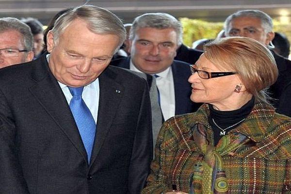 Montpellier - Jean-Marc Ayrault et Hélène Mandroux avant l'annonce du Premier ministre - 3 décembre 2013.