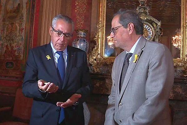 Perpignan - rencontre entre Jean-Marc Pujol, maire de Perpignan et Quim Torra, président de la Generalitat de Catalogne - 31 août 2018.