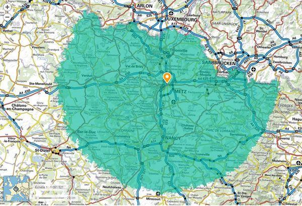 Les 100 km à vol d'oiseau accessibles au départ de Metz (Moselle).
